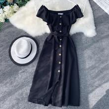 Женское однотонное платье трапециевидной формы, женские вечерние платья с коротким рукавом и вырезом лодочкой, офисные женские однобортные платья до середины икры Vestidos
