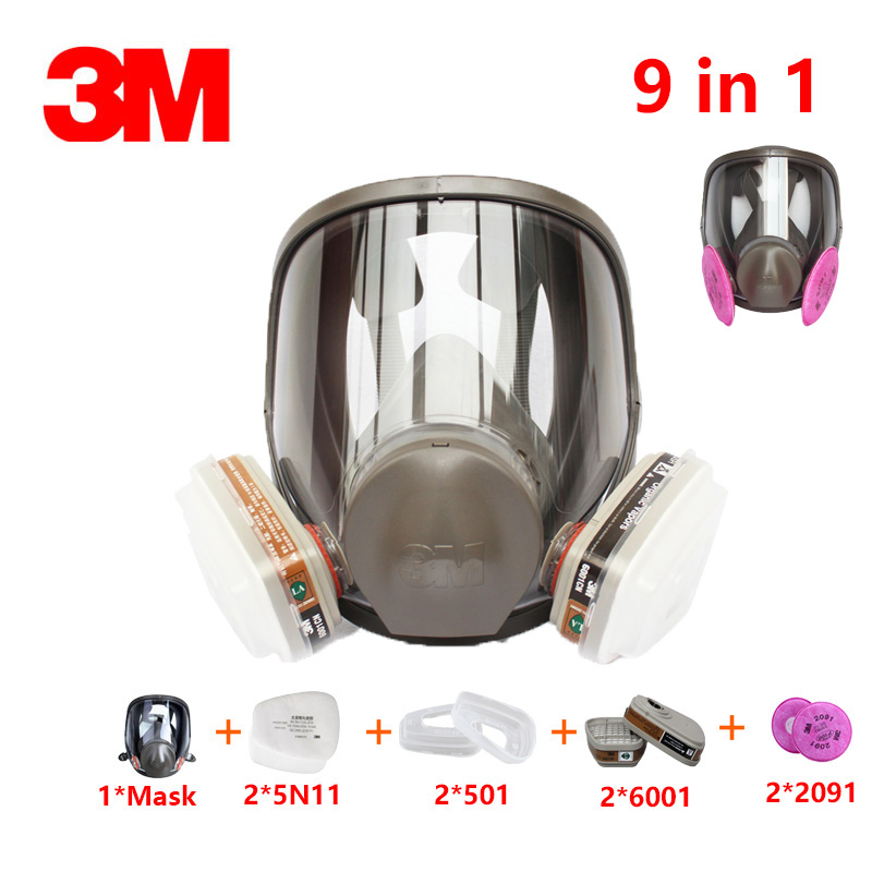 9in1 3M 6800 respirator gas mask Brand protection respirator mask against Organic gas with 6001/2091 fiter9in1 3M 6800 respirator gas mask Brand protection respirator mask against Organic gas with 6001/2091 fiter