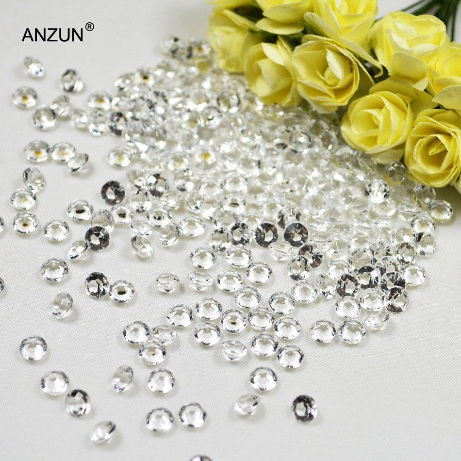 250 шт 10 мм 4CT Акриловые Алмазные конфетти Свадебная вечеринка Разбрасыватели конфетти для стола украшения кристалл