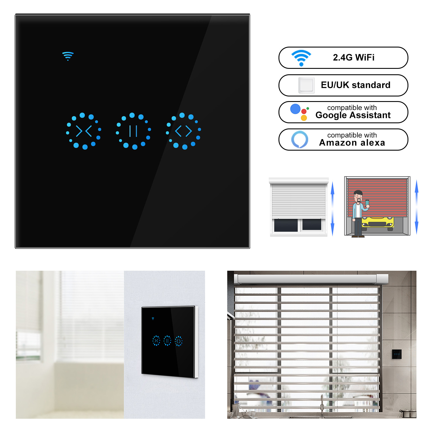 Ewelink WiFi Electrical Blinds Switch Touch APP Voice Control by Alexa Echo AC110 to 250V for Mechanical Limit Blinds Motor-in Switches from Lights & Lighting