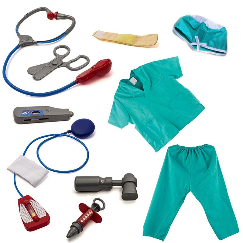 Child's Blue Doctor Dressing Surgeon Costume Set And Accessories Child Doctor Show Prop Costume Set image