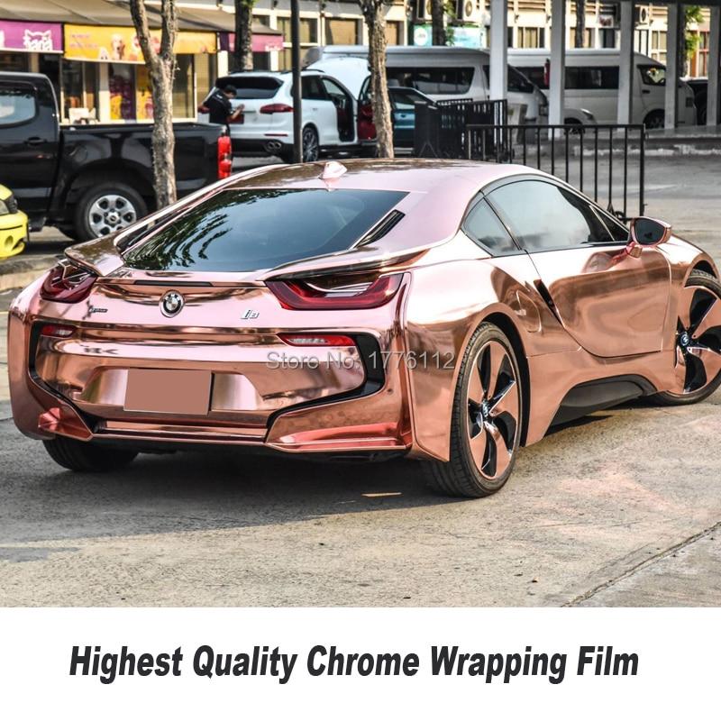 New Rose Or chrome Enveloppe de Vinyle Pour La Voiture Wrap Style avec bulle d'air libre chrome l'union feuille 1.52*20 m/Rouleau 5X67ft Standard taille