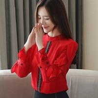 Spring Autumn Women Red Chiffon Blouse Tops Office Lady Stand Collar Ruffles Long Sleeves Slim Lace Shirt Blusa Feminina