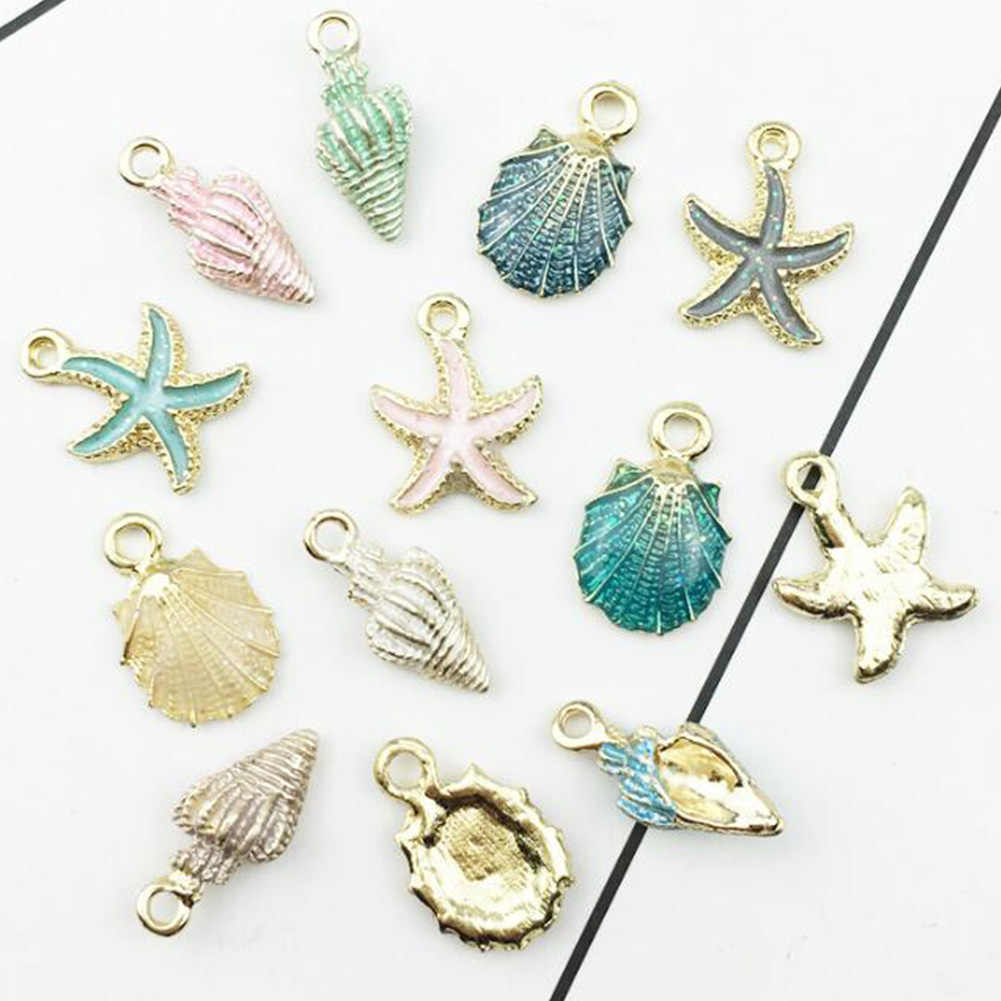 13pcs/Lot Enamel Alloy Charms Oil Drop Enamel Kawaii Sea Shell Snail Stars Floating Pendant Charms Fit Earring Decor