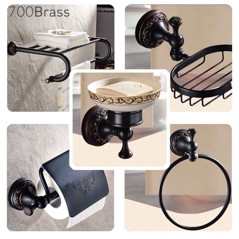 Modern Black Wall Mounted Bath Hardware Set Luxury Brass Clothes Hooks Toilet Paper Holder Towel Bars