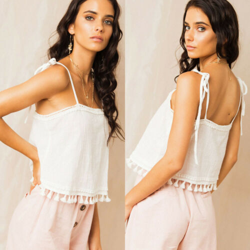 2019 NEW Elegant Women Linen Strappy Tassel Tank Vest Cami Bralet Casual Girls Short   Blouse     Shirt   Crop Tops Hot Beach Style new