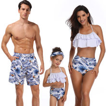Family Matching Swimwear Sandy Beach Male Pants Famale Bikini Holiday Swimsuit Dad Son Daughter Mum Matching Sets Family Outfits(China)