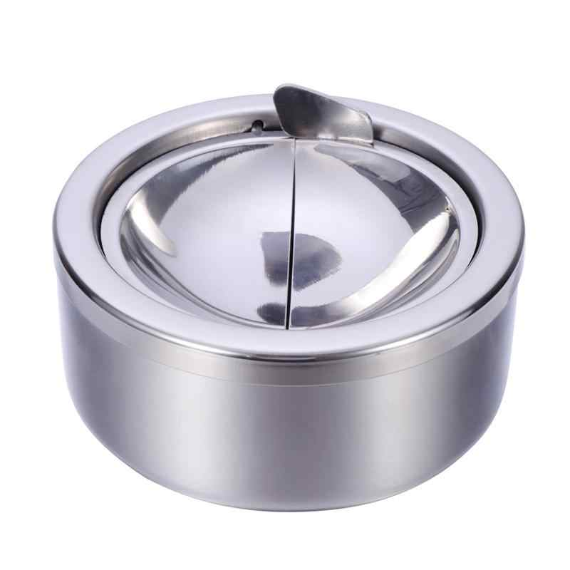 LUOEM Round Windproof Cigarette Ashtray Stainless Steel Tabletop Ashtray Desktop Smoking Ash Tray for Smokers