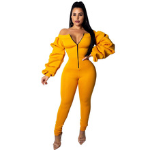 3314578f590 2018 New Women Casual Jumpsuit Front Zipper Sexy Slash Neck Off Shoulder  Rompers Long Puff Sleeve