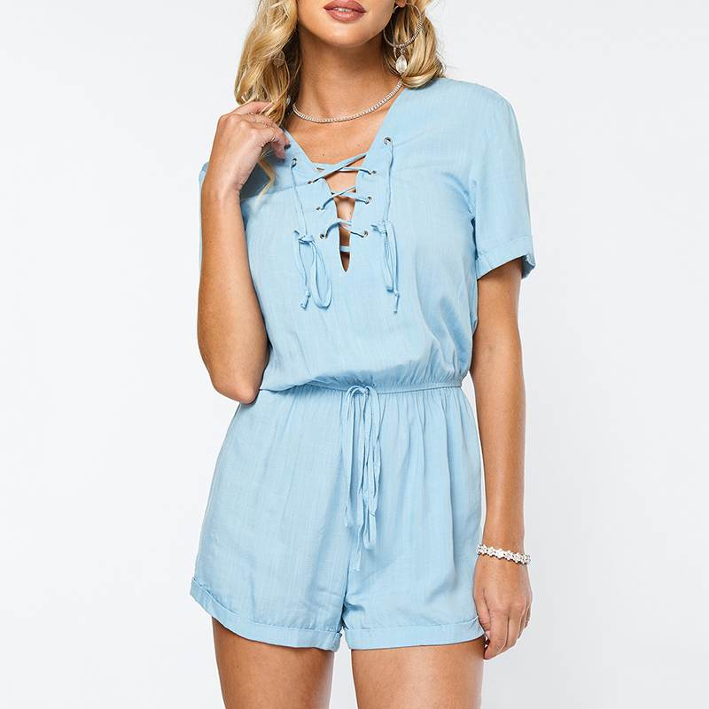 Jumpsuit Casual Bandage Romper Women Bodysuits Short-Sleeve V-Neck Sexy Female Hollow-Out