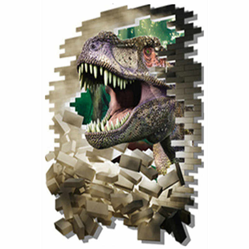 Животное Юрского периода мир 3d динозавр сломанная стена, чтобы войти детская комната украшение sci-fi виниловые наклейки постер фильма 90*60 см 3 стиля