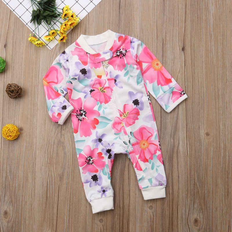 Pudcoco Gadis Celana Kodok 0-24M Kami Bunga Bayi Gadis Ritsleting Kapas Baju Monyet Jumpsuit Musim Gugur Pakaian Pakaian
