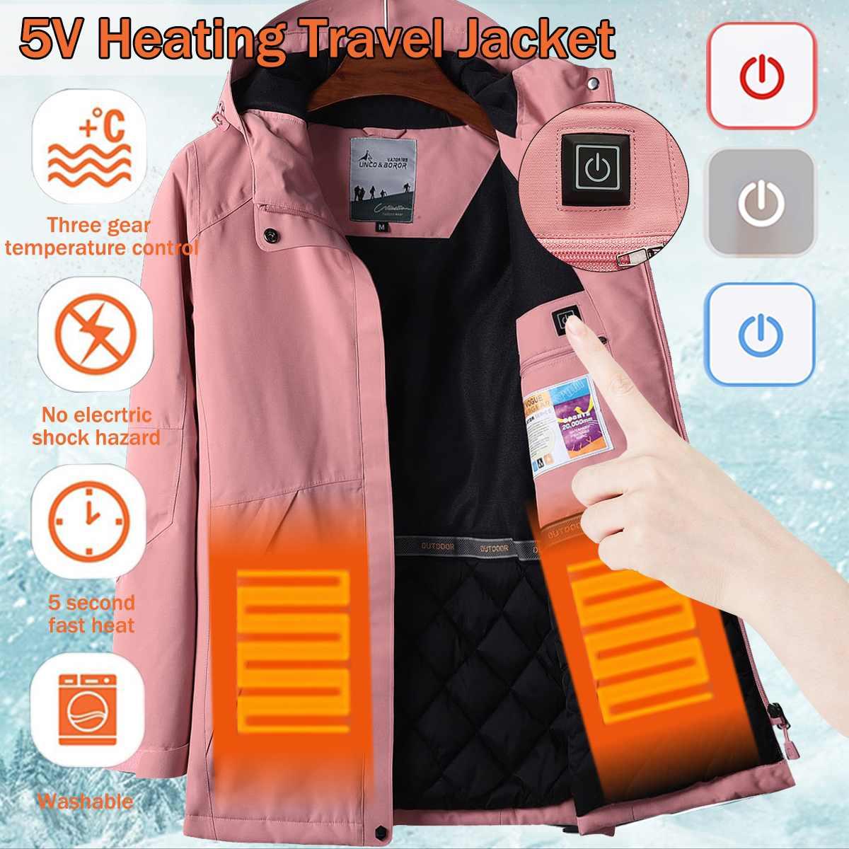 Водостойкие электрические нагревательные Heaed теплые USB с капюшоном дорожные мужские пальто куртки моющиеся зимние походные куртки для дево...