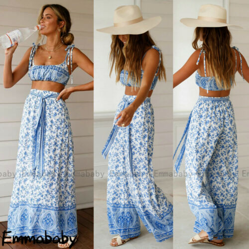 Two Piece Set Women Print  Elastic Waist Pants Backless Boho Loose Trousers Crop Top  Pants