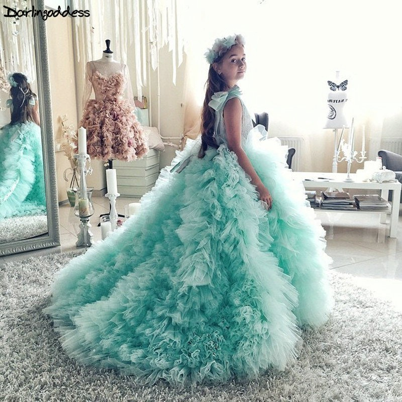 Mint Green Flower Girl Dresses 2019 First Holy Communion Dresses For Girls Ball Gown Wedding Party Dress Kids Evening Prom Dress