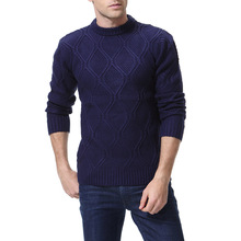 Autumn And Winter Men's Solid Color Sweater Bottoming Shirt Tide Male Round Neck Slim Knitted Sweater Y260
