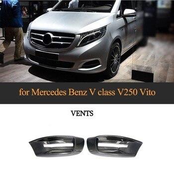 Carbon Fiber Head Front Bumper Air Vent Fender Trim For Mercedes-Benz V-Class W447 2014 - 2018 MPV