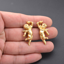 Golden Little Angel Stud Earrings Baroque Vintage-inspired Court Pierce Prayer Jewelry