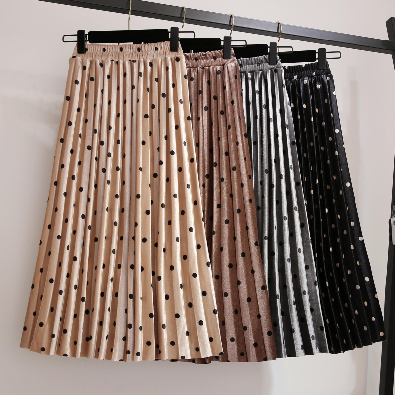 Pleated Skirts Women Spring Autumn Saia Midi High Waist Faldas Mujer Moda Plus Size Jupe Femme Vintage Velvet Dots Ladies Skirt