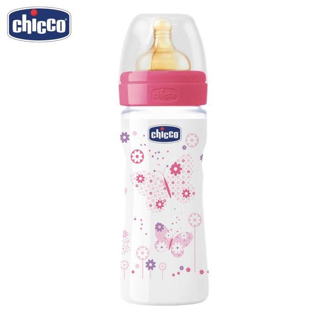 Бутылочка Chicco Well-Being Girl 2 мес.+, лат. соска, РР, средний поток, 250 мл