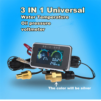 12V/24V New 3 in 1 LCD Gauge Truck Car Oil Pressure Gauge + Voltmeter Voltage Gauge + Water Temperature Gauge Meter with Sensors