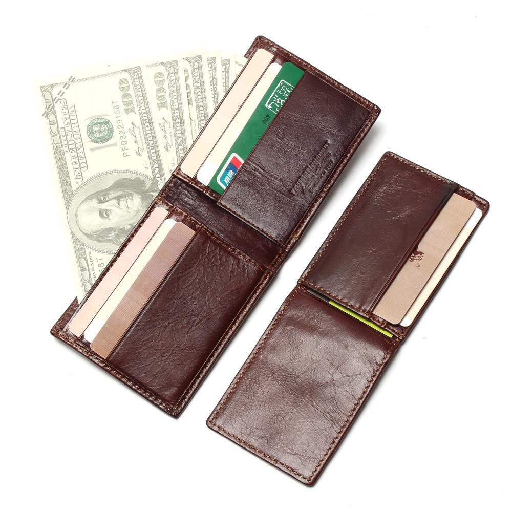 Vesna New RFID BLOCKING Genuine Leather Men 39 s Wallets Male Bifold Purse Small Dollar Wallet Cowhide Bifold Purse Card Holders in Wallets from Luggage amp Bags