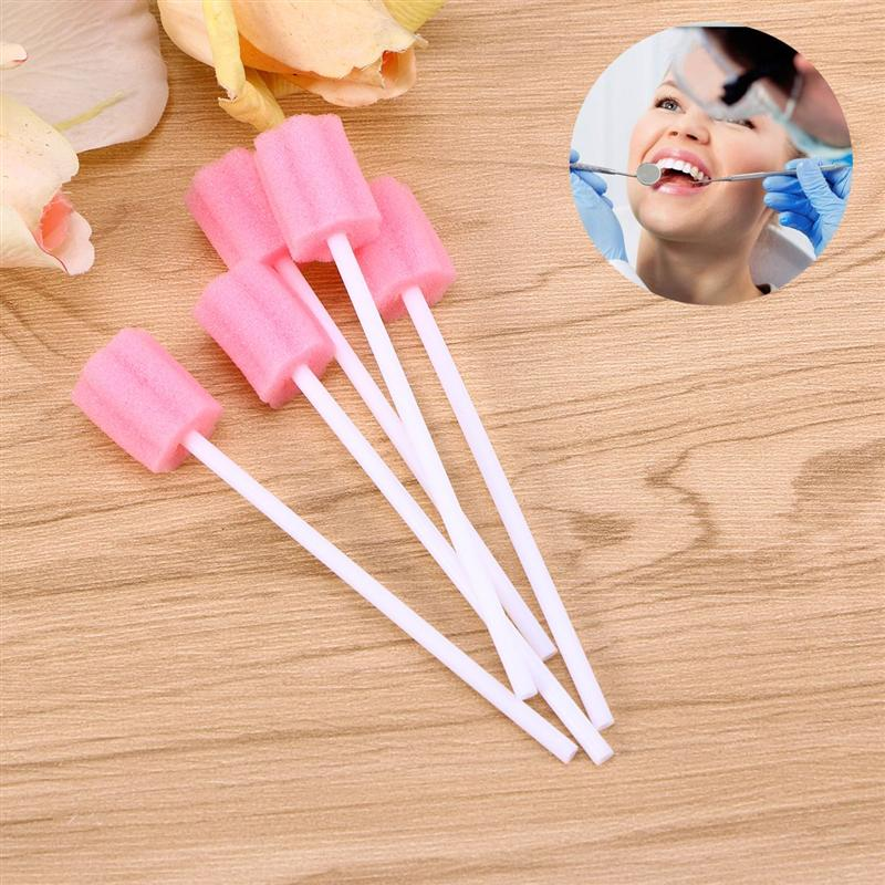 100pcs Disposable Sponge Stick Mouth Care Sponge Tooth Cleaning Sponge Swab Oral Care Accessories (50pcs/Pack, 2packs)