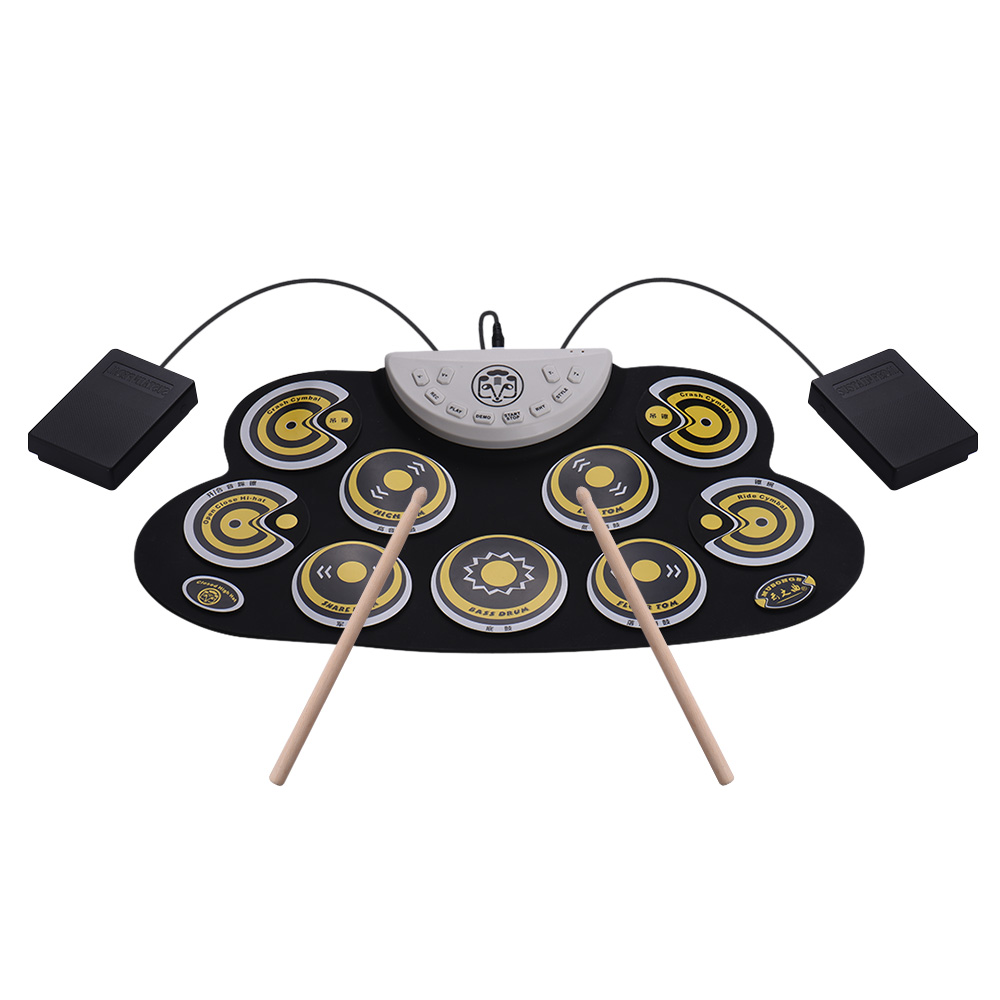 Portable Silicone Drum Pad Electronic Roll Up Drum Set with Drum Sticks Foot Pedals Cartoon Design Digital Drum for Kids