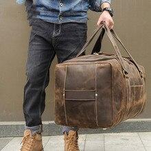 Large Capacity Men's Leather Travel Bag 6008R Large Weekend Duffel Bag Big Genuine Leather Business Men's Design Duffle Handbag