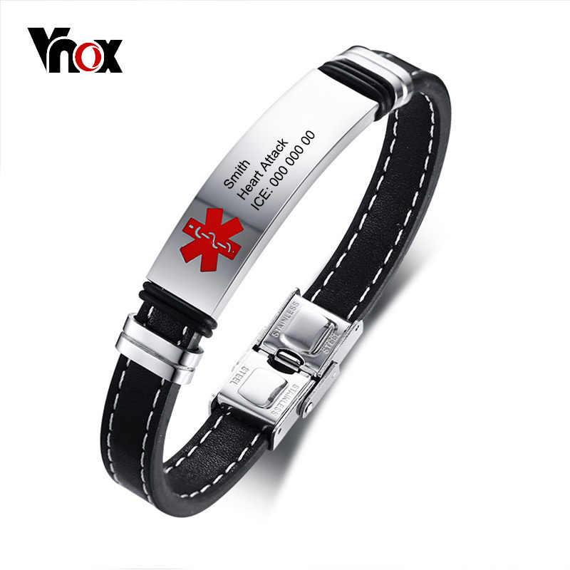 Vnox spersonalizowane Medical Alert ID bransoletka dla mężczyzn ze stali nierdzewnej znacznik identyfikacyjny prawdziwej skóry awaryjne biżuteria męska