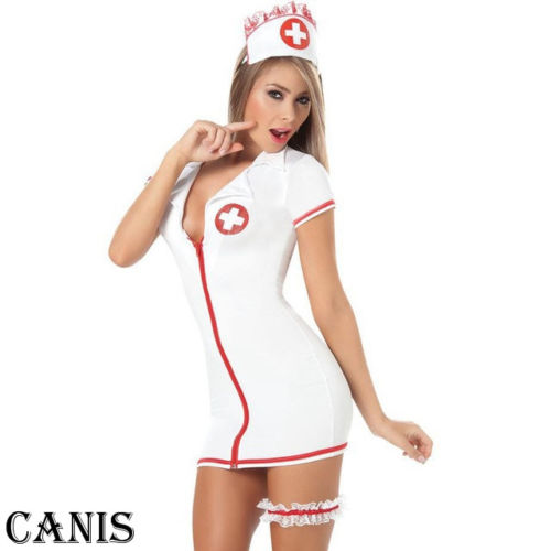 Women Sexy Lingerie Nurse Uniform Fancy Cosplay Outfit Set Underwear Perspective