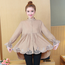 купить Embroidery Peplum Top Korean Fashion Women Long Shirt 2019 Spring Hollow Out Flare Sleeve Stand Collar Casual Blouses Hiver 5XL дешево