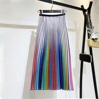 2019 Spring New Korean Style High Waist Mid calf Color Strip Pleated Bottom Trend Women Summer Pleated Skirt A606
