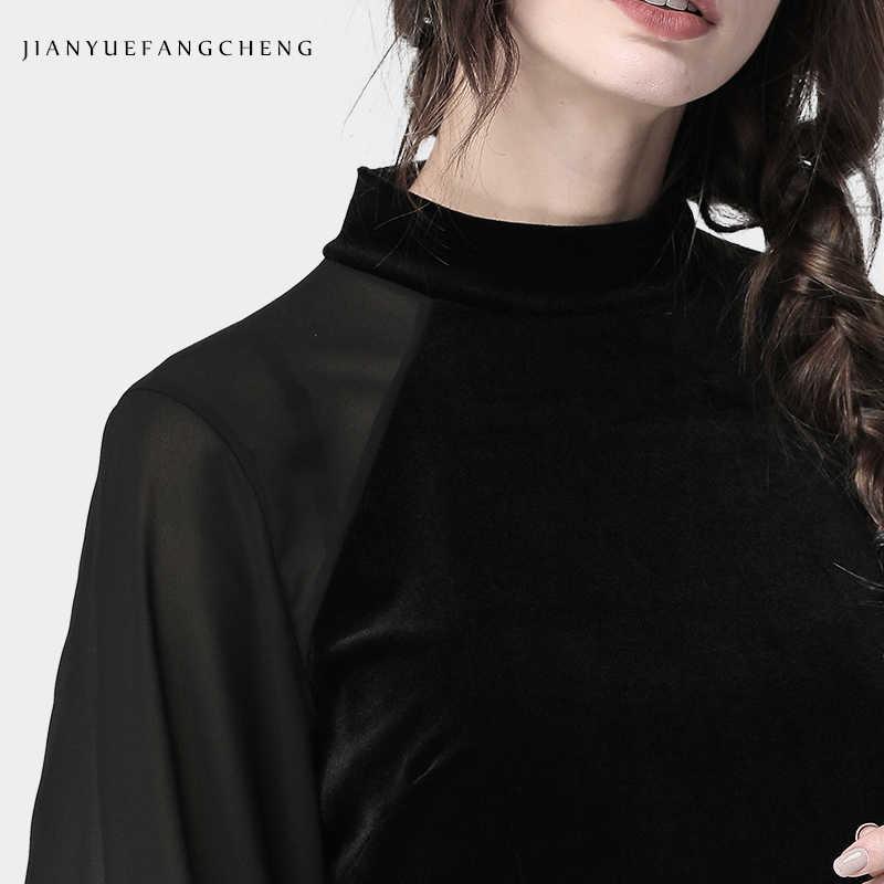 2019 printemps automne femmes noir velours Blouse lanterne à manches longues col rond doux Skinny Section mince chaud grande taille femme hauts