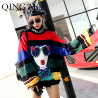 QING MO Women Rainbow Striped Sweater Lantern Sleeve Turtleneck Sweater Women Cartoon Sweater Bow Clothing DQ0052A