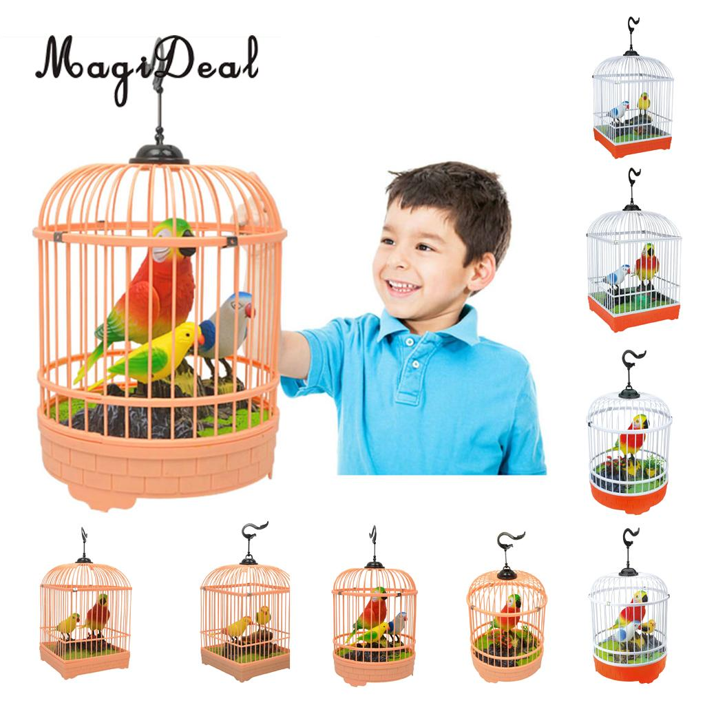 Contemplative Simulation Singing Bird In Cage, Kids Voice Control Electronic Pet Toy, Home Garden Decoration