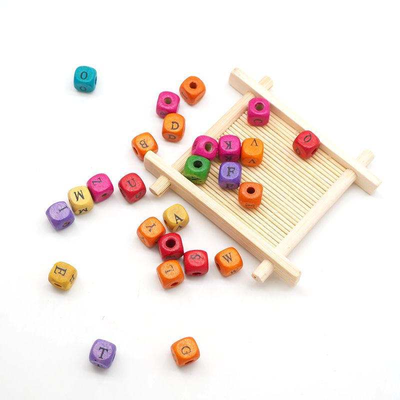 Купить с кэшбэком Chenkai 10mm 500PCS Wood Alphabet Random Mixed Beads Spacer Wooden Letter Beads For Making DIY Baby Teether Accessories