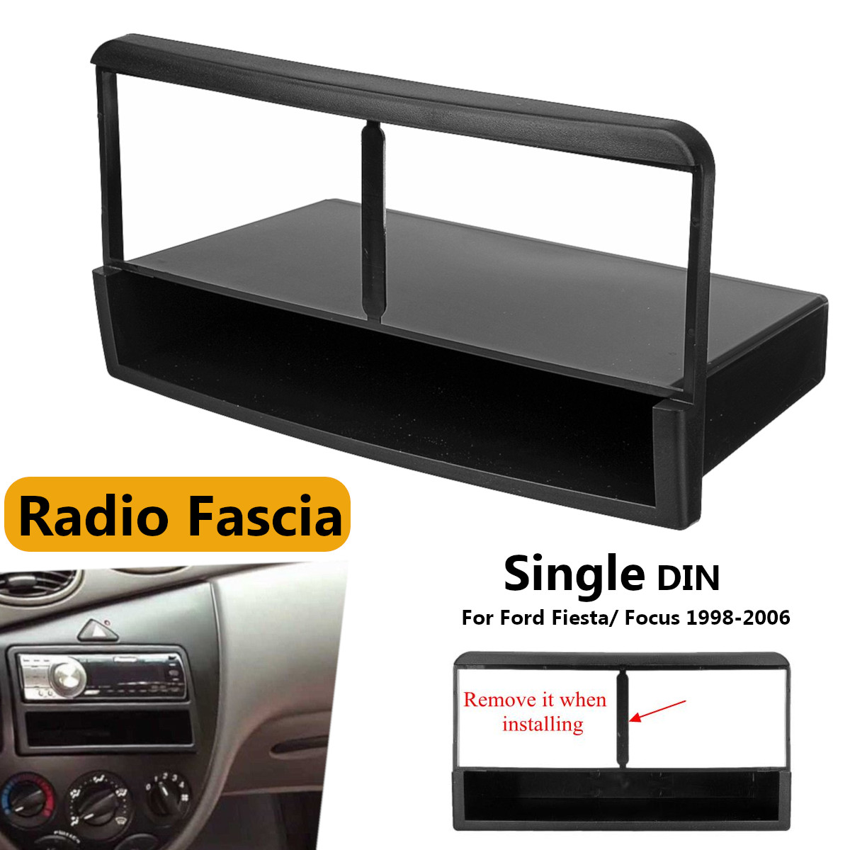 1 Din Car Stereo Radio DVD Fascia Panel Plate Frame Panel Audio Dash Mount Kit Adapter for Ford For Fiesta For Focus 1998 - 2006 image