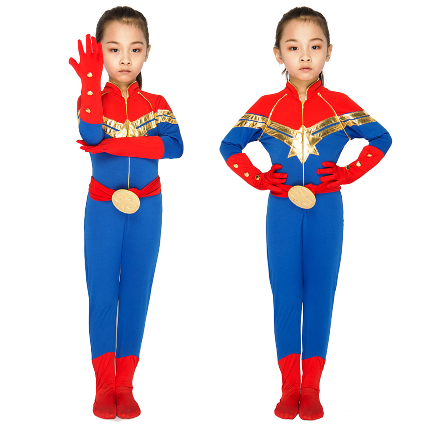 2019 Kids Captain Marvel Cosplay Disguise Halloween Carnival Costumes for Girls Jumpsuit Super Hero Party Performance Clothing