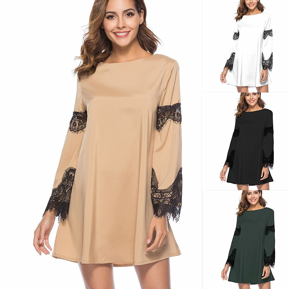 2018 Sexy O-Neck Cotton Spring Summer Dress Casual Loose Women A-Line Mini Lace Patchwork Flare Sleeve Mesh Hollow Out Dress