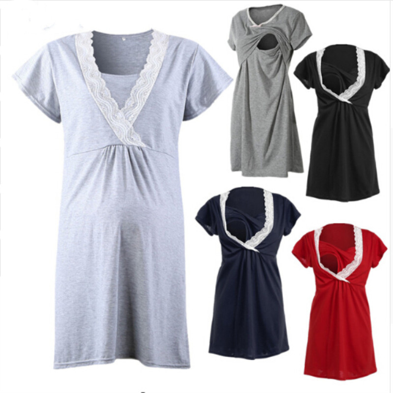 Maternity Clothes Party Breastfeeding Clothes For Pregnant Women Maternity Dress Nursing Clothing Size S-XXL 5Colours