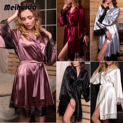 2019 New Sexy Lingerie Women Silk Lace Robe Dress Babydoll Nightdress Sleepwear Kimono Spring Robes