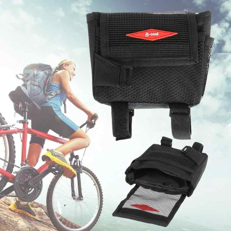 1pc Mini Bicycle Top Tube Rainproof Cap Portable Bicycle Frame Bag Mounted Storage Mesh Pouch Bag Cycling Accessories
