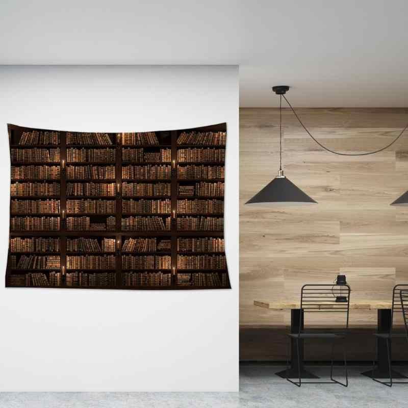 Tapiz de impresión de estantería Retro lleno de libros tapiz de pared arte pared colgante manta misteriosa biblioteca playa Yoga Mat Decoración