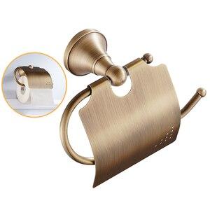 Image 4 - Porte serviettes Portable en laiton, Bronze Simple, Antique, étagère de rangement pour la salle de bain, rouleau de papier, porte papier hygiénique