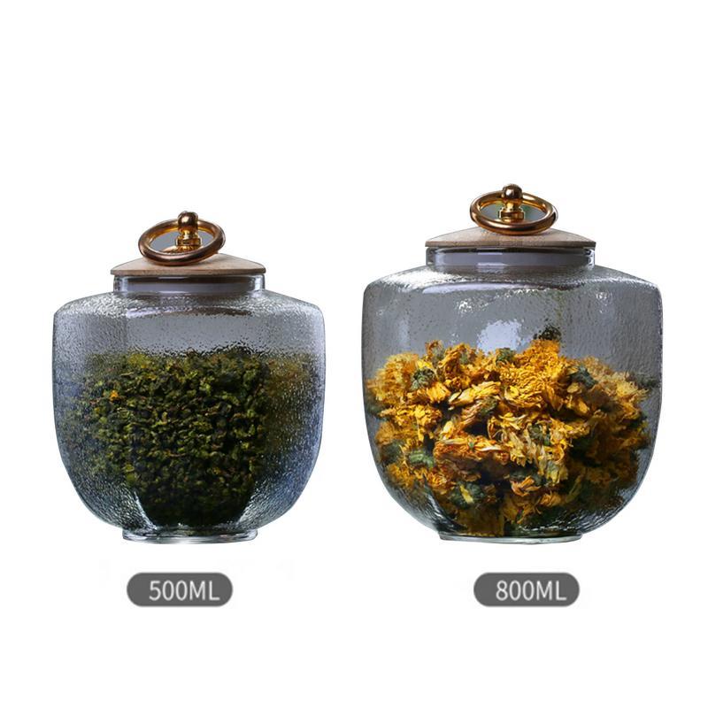 Transparent Glass Sealed Storage Tank Kitchen Tea Coffee Beans Sugar Salty Cans Jars Bottles