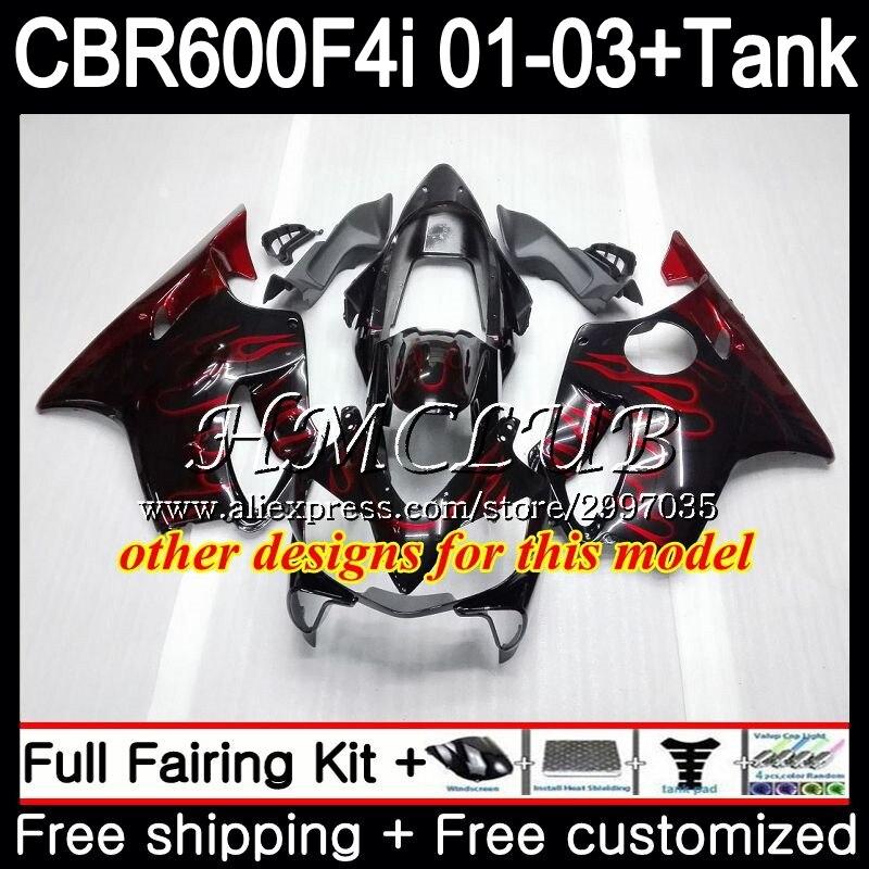+ Tanque Para HONDA Estoque red hot CBR 600 F4i CBR600FS CBR600F4i 2001 2002 2003 77HC. 1 600F4i 600 FS CBR CBR600 F4i 01 02 03 Carenagem - 2