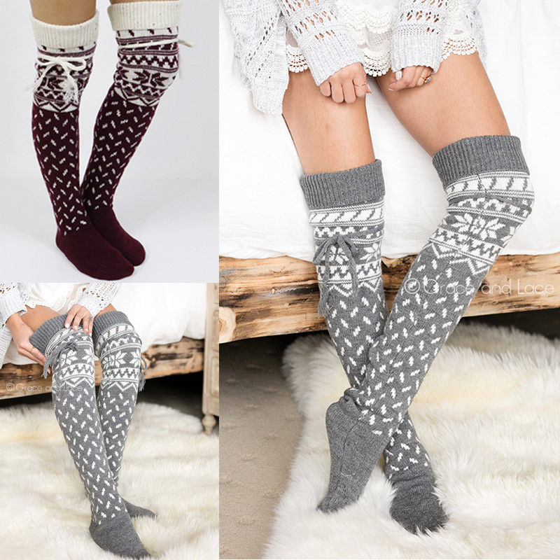 1a46a633163 Detail Feedback Questions about Winter Women Cable Knit Extra Long Boot  Socks Over Knee Thigh High School Girl Long Socks Bandage Warm Fashion on  ...