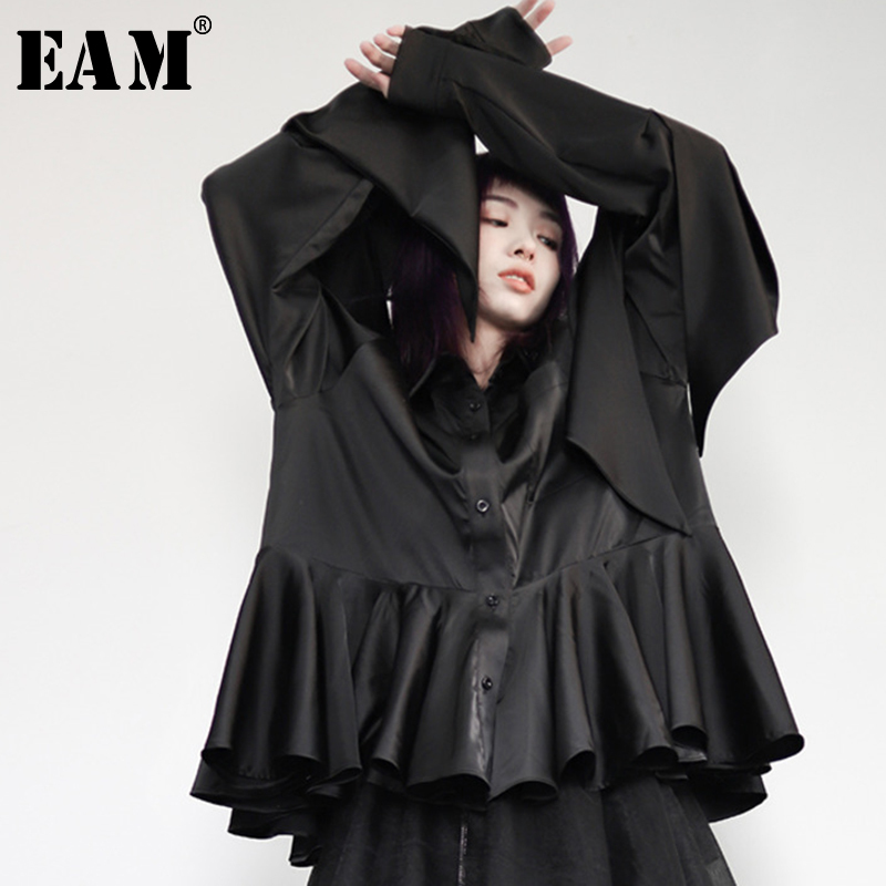 EAM 2019 Spring Woman New Black Color Long Sleeve Turn down Collar Single Breasted Spliced
