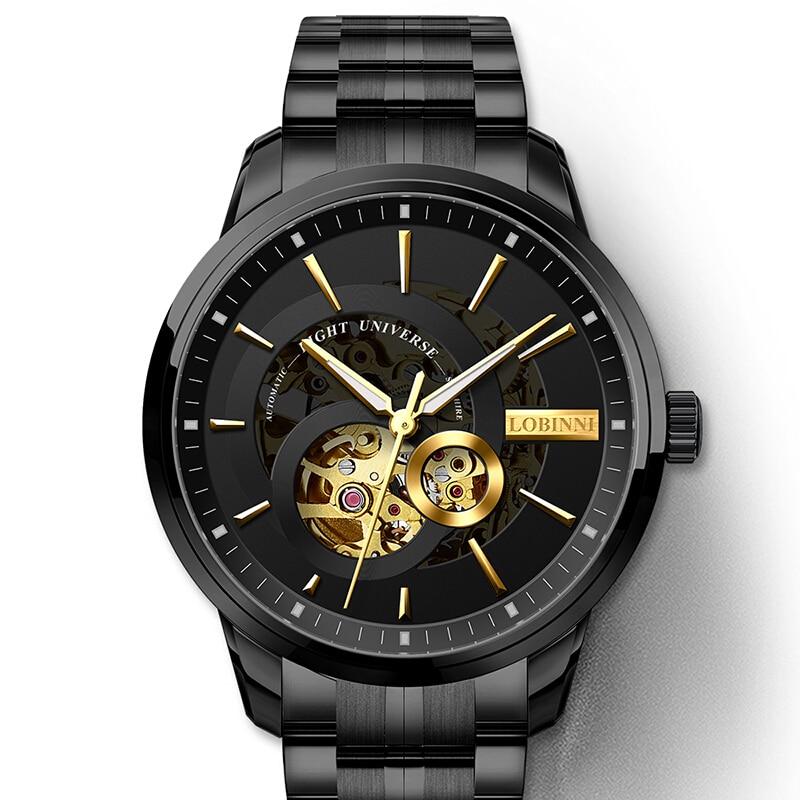 Switzerland Automatic Watch Men LOBINNI Skeleton Mechanical Men Watches Full Steel Sapphire Relogio Masculino Waterproof L5015